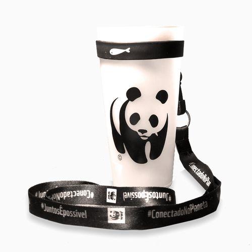 Kit Copo Eco WWF Reutilizável + Porta Copo preto