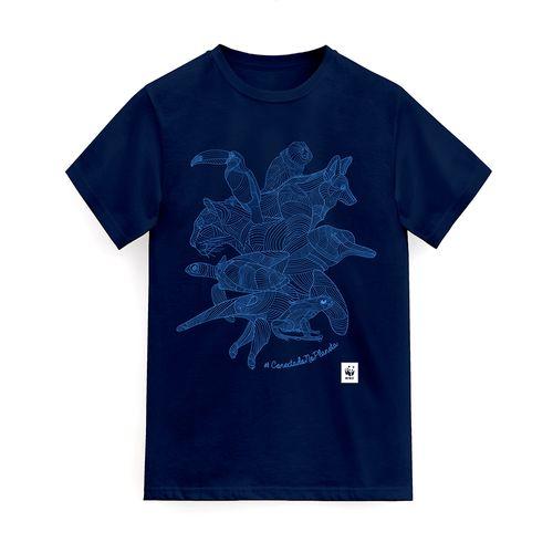Camiseta WWF Conectado no Planeta Regular - azul