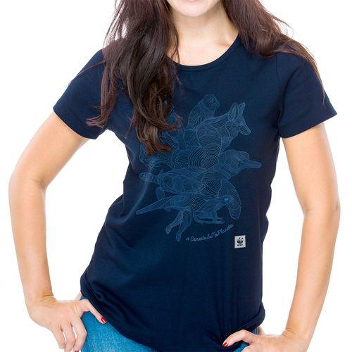 Camiseta WWF Conectado no Planeta Baby Look - azul