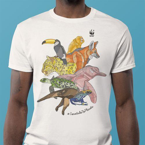 Camiseta WWF Conectado no Planeta Regular - off-white