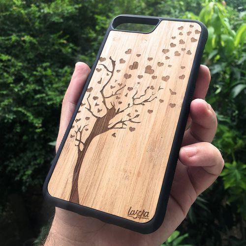 Capinha de Bambu para Celular Árvore