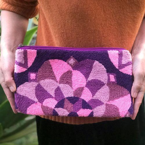 Carteira Wayuu Tapizada - G- Lilás e rosa sem alça